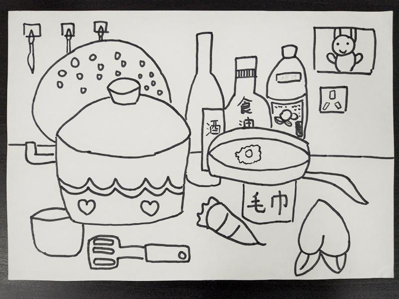 """小学美术课堂学生作品展示——四年级""""厨房一角""""线描画"""